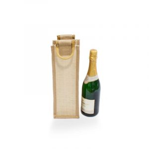 Vinná taška na 1 lahev, bambusové uši, z běleného přírodní jutové tkaniny