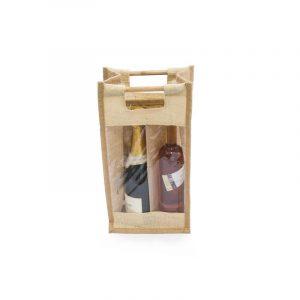 Jutová vinná taška pro dvě lahve s oknem