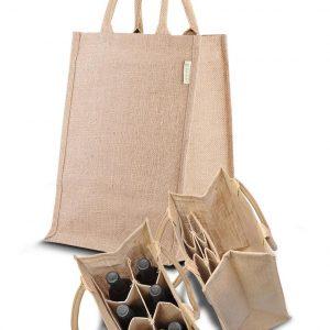 Dárková vinná taška z juty, multifunkční, pro šest lahví