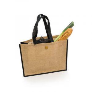 Nákupní taška z juty, přírodní, s černou dekorací
