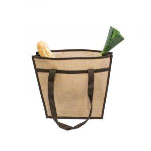 Nákupní taška z juty, přírodní, s hnědou dekorací