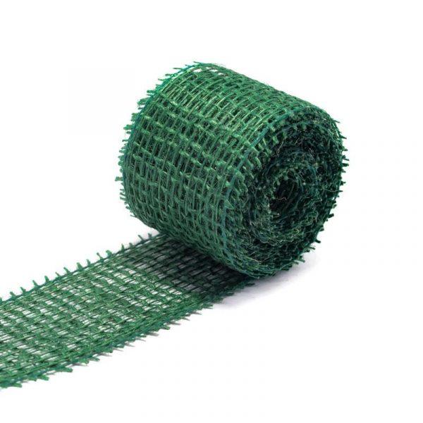Jutová dekorační páska v rozměru 4 x 300 cm, barva zelená