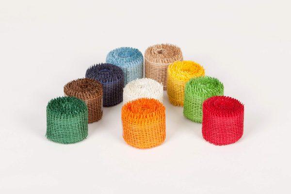 Dekorační pásky z juty, různé barvy