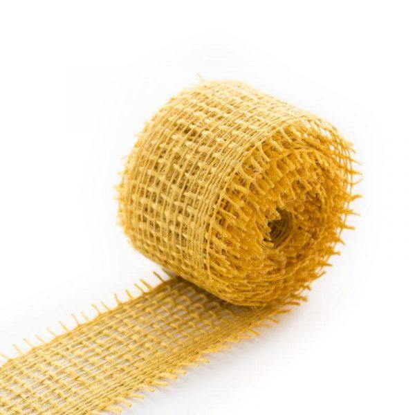 Jutová dekorační páska v rozměru 4 x 300 cm, barva žlutá