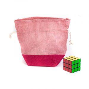 Jutový dárkový sáček růžový