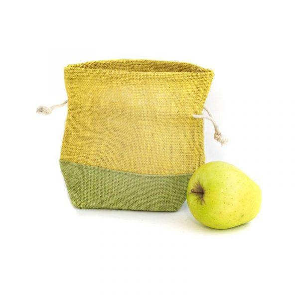 Jutový sáček žluto zelený