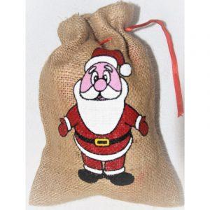 Jutový pytlík se Santa Clausem, velikost 25 x 18 cm nebo 33 x 24 cm