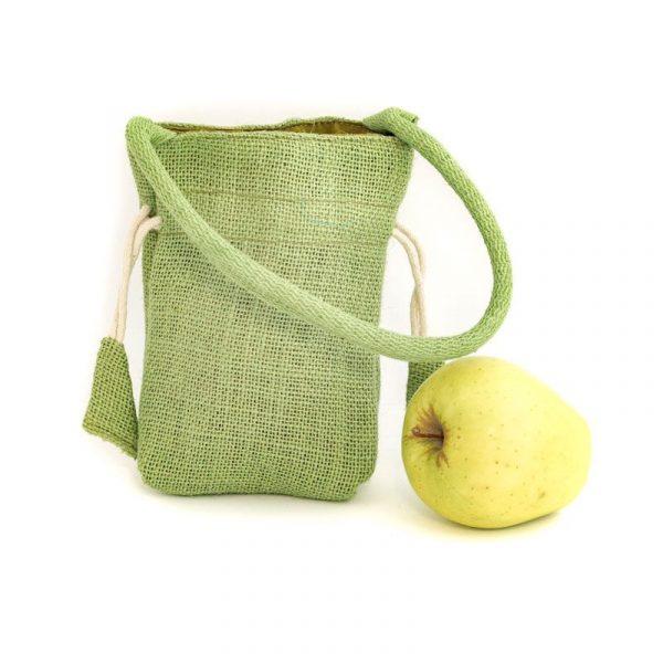 Zelená jutová taška