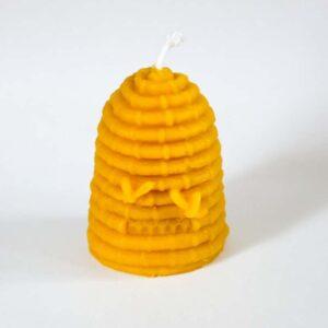 Svíčka ve tvaru úlu ze 100% včelího vosku – velká, 8 cm