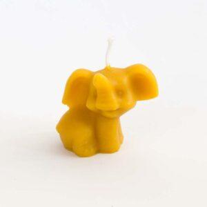 Svíčka ve tvaru slona ze 100% včelího vosku, 5 cm
