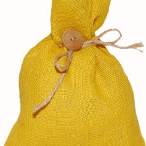 Barevná jutová taška s dřevěným knoflíkem 24×18 cm